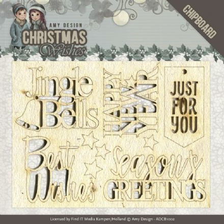 ADCB1002 ~ Chipboard Text ~ Christmas Wishes  ~ Amy Design